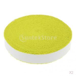 ノーブランド品 2点 綿 汗吸収 滑り止め テニス バドミントン ラケット用 タオル グリップ テープ 全4色 - 黄