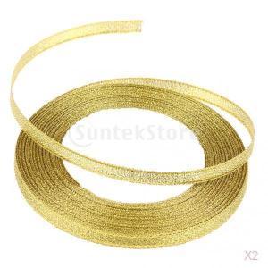 リボン結婚式のパーティーの装飾の弓クラフトDIY 6ミリメートルゴールドサテン25ヤード|stk-shop