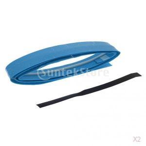 ノーブランド品 2本 テニス バドミントン スカッシュラケット用  グリップ テープ 滑り止め  汗吸収 伸縮 全8色 - スカイブルー