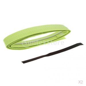 ノーブランド品 2本 テニス バドミントン スカッシュラケット用  グリップ テープ 滑り止め  汗吸収 伸縮 全8色 - グリーン