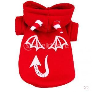 SONONIA  2枚入 ペット用品 犬猫 悪魔 スウェット 洋服シャツ 光る 服 赤|stk-shop