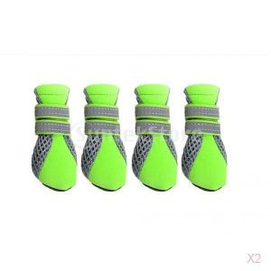 ペットの犬の子犬ブーツ撥水滑り止め保護ブーツの靴緑の|stk-shop