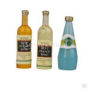 【ノーブランド品】1/12サイズ ドールハウス用 ミニチュア ワイン ウイスキー ボトル 3本|stk-shop