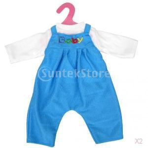 ちっちゃな赤ちゃん/双子の人形用の白いTシャツ青ビブオーバーオールの衣装|stk-shop