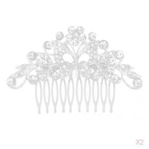 ヴィンテージ結晶蝶の結婚式の毛の櫛ブライダルヘッドピースヘアピース|stk-shop