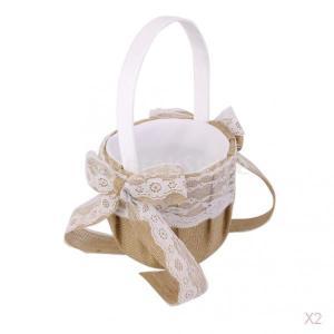 【ノーブランド品】結婚式 ウェディング用 麻布製 フラワーガール バスケット レース&リボン付 (ブラウン&ホワイト)|stk-shop