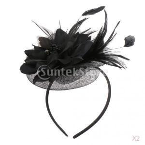 女性の羽の魅惑的な花のベール帽子ヘアバンドの結婚式のパーティーの衣装黒|stk-shop