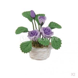 ドールハウスミニチュア紫粘土は白い鉢に花をバラ|stk-shop