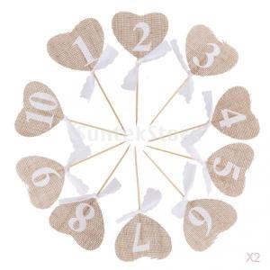 10個入りのフラグは心の結婚式のテーブル番号1-10素朴なテーブルデコレーションを黄麻布|stk-shop