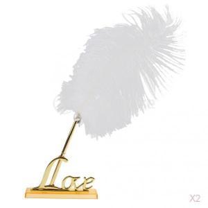 金と白い羽署名ペンは金属愛ホルダー結婚式のペンセットメッキ|stk-shop