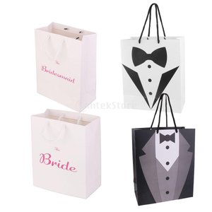 Dovewill 4個 ギフト 袋 花嫁 結婚式 パーティー 紙 好意バッグ 多色 タキシード キャリーバッグ|stk-shop