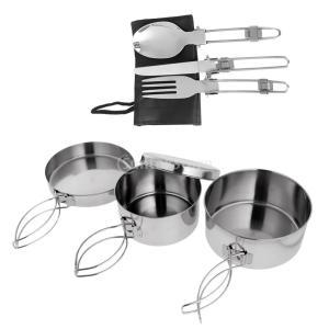 【ノーブランド品】アウトドアキャンプハイキングピクニック折り畳み式のフォークスプーン食器+|stk-shop