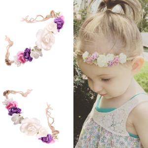 2本 キッズ 女の子 フラワー お花飾り ヘッドバンド 髪飾り ヘアアクセサリー ヘアバンド|stk-shop