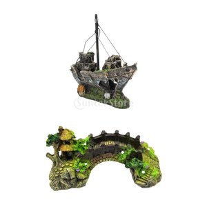 Baoblaze 沈んだ難破船 潜水釣り船 橋 魚エビ隠し洞窟 水族館装飾|stk-shop