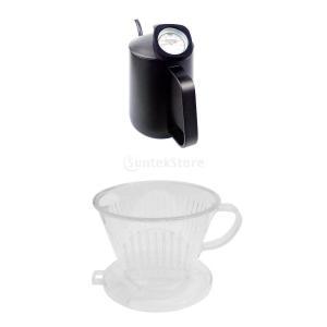 2個 コーヒードリップ ケトル ドリッ プポット 細口ポット ステンレス製 温度計付き と PCプラスチック製 コーヒードリッパー|stk-shop