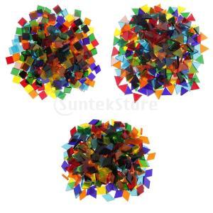 約750ピース 三角形/正方形/菱形 DIY装飾品 透明素材 ガラス製 手芸素材 モザイクタイル |stk-shop