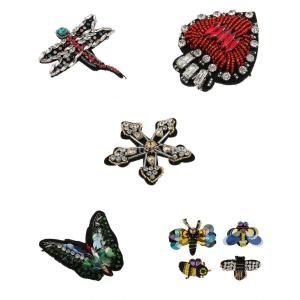 説明: 多色虫バタフライ&ハチミツとトンボ&ラブハート装飾パッチ手作りの縫製装飾どんな衣服やアクセサ...