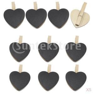50個の黒の熱い形状の木製の服の写真のペイントペグの洋服のクラフトクリップ|stk-shop