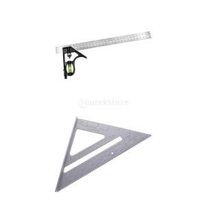 アルミニウム コンビネーションスコヤ&三角ルーラー 2点セット 三角 スクエア 直角 多用途 調整可...