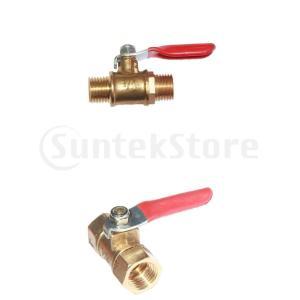 1/4オスXオス真鍮パイプボールバルブ水/空気流体コネクタ継手、パイプバルブ|stk-shop