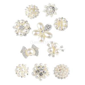 フラットバックボタン ラインストーン 人工パール 手芸用品 飾り 花の形状 10個入り|stk-shop