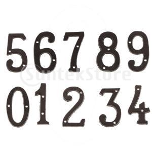 10ピースキャスト錬鉄製黒アンティークハウスドア番号看板数字ステッカープレート