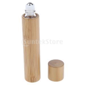 Baoblaze 2個 空 環境にやすい ガラス+竹 香水ボトル ローラーボール  軽量 詰め替え容器 旅行 便利|stk-shop