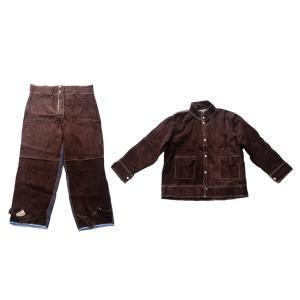 溶接スーツ熱/難燃性やけどのない茶色のシャツxxl +パンツxxl