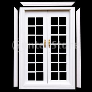 1/12ドールハウスミニチュアdiy木製ダブルドア&窓付きカーテンホワイト