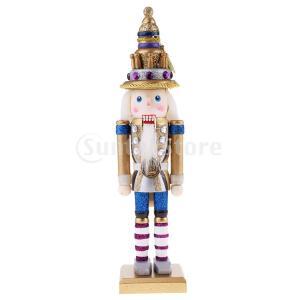 説明: クラシック30センチ木製キラキラくるみ割り人形兵士フィギュアモデル人形人形付きスクエアベース...