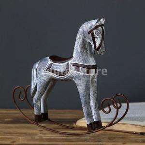 2xヨーロッパの木製ロッキングホーススタチュー結婚式の装飾木製の馬工芸品|stk-shop