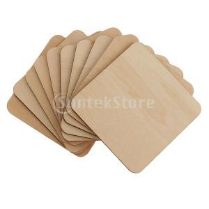 20倍の空白の木製の正方形のプラーク未完成の木製の切り欠き形状の工芸品2サイズ|stk-shop