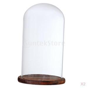 2xガラスドームクローシュw /ウッドベースフラワーランドスケープホルダーガラスカバーブラウンf stk-shop