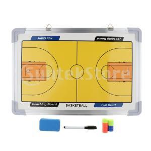 磁気バスケットボールコーチングボード、両面ドライイレースコーチマーカーボードクリップボード+ストラッ...