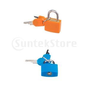 鍵付きミニ南京錠ロッカージムツールボックス用の小さなロックハスプ引き出し日記2パック、耐候性真鍮 stk-shop