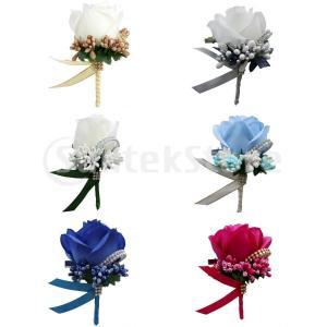 説明: 手作りの新郎花嫁花嫁介添人ブートニエールコサージュ人工のバラの花ブローチピン。 生地はバラの...