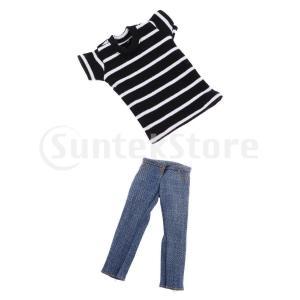 説明:   1/6スケールドールモデル衣類男性用ショートTシャツとジーンズパンツズボン。 人形やアク...