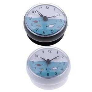 浴室の壁吸引時計防水時間表示家の装飾ギフト2ピース|stk-shop