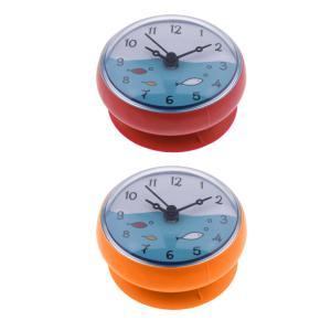 浴室の壁吸引時計防水時間表示家の装飾ギフト2パック|stk-shop