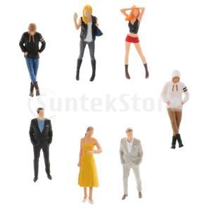 フィギュア人形 7個 1:64 ミニチュア メンズ フィギュア シーンキャララーストリート フィギュ...