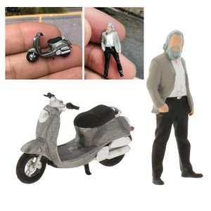 2ピース/個1/64モデル小さなフィギュア人w /オートバイの風景ChildrenoupDIY