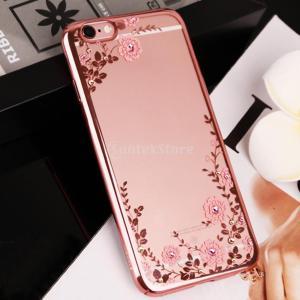 【ノーブランド品】クリスタル フラワー 電話ケース カバー 耐久性 軽量 ピンク バラ 花 ファッション iPhone 6 6S対応|stk-shop