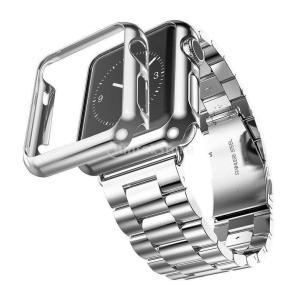 ノーブランド品 ステンレススチール製 時計バンド アダプター ケースカバー  Apple Watch 42mm対応 - シルバー
