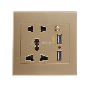 【ノーブランド 品】シャンパンゴールド 5コンセント/ wスイッチ  2.1A 2USBポート 壁ソケット充電器|stk-shop