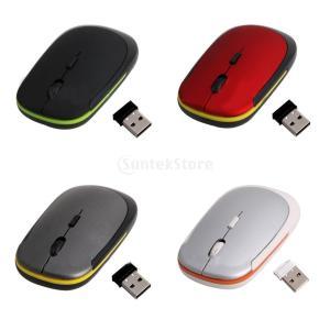 Lovoski 2.4GHz 超薄型 USBレシーバー ワイヤレス 光学式マウス 低消費電力 PC /ノートパソコン対応  - ブラック