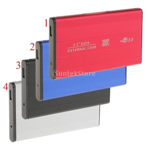 Fityle USB2.0 SATA 2.5インチ SSD HDD 外付けハードディスクドライブ 4色  - レッド