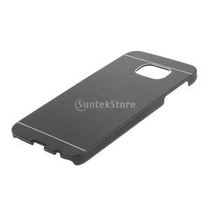 GRALARA Samsung S6 に対応  薄い 快適 軽量 金属ブラシ付き ハードカバー 携帯電話ケース - ブラック stk-shop