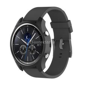 保護カバー  腕時計カバー シリコン材 耐久  Samsung Gear S3クラシックスマートウォッチ適用 全10色 - ブラック stk-shop
