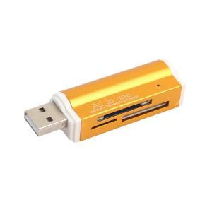 マルチカードリーダー USBメモリー USB 2.0 Micro SDHC SD TF MS m2 MS Duo対応 全5色  - ゴールド|stk-shop
