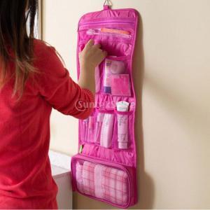 赤い折り畳み式吊り旅行化粧品袋化粧オーガナイザーケースポーチトイレタリー
